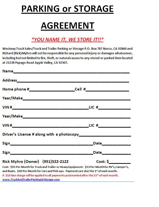 Storage Rental Storage Rental Unit Agreement